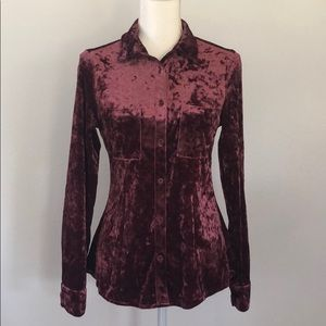 Shyanne Crushed Velvet Dark Mauve Blouse